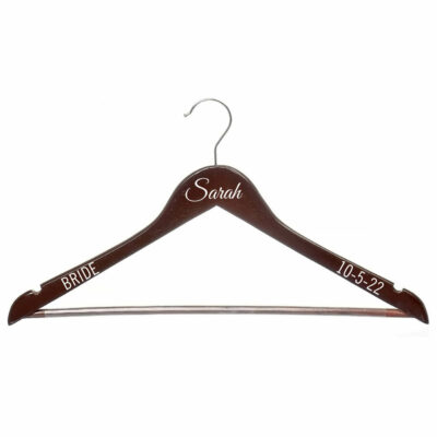Wood Hanger with Name, Date & Title - Cherry
