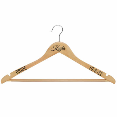 Wood Hanger with Name, Date & Title - Natural