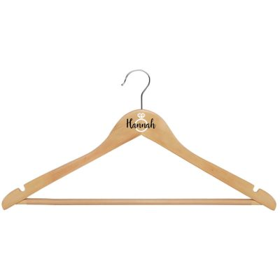 Wood Hanger with Name & Ring - Natural