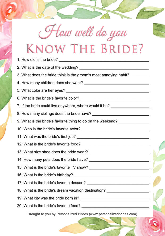 How well do you know the bride game - Floral