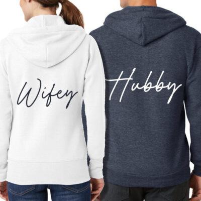 Wifey & Hubby Full-Zip Hoodie Set