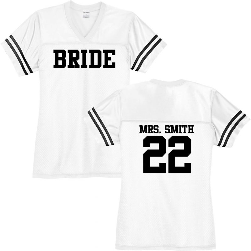 Bride V-Neck Football Jersey with Name & Number