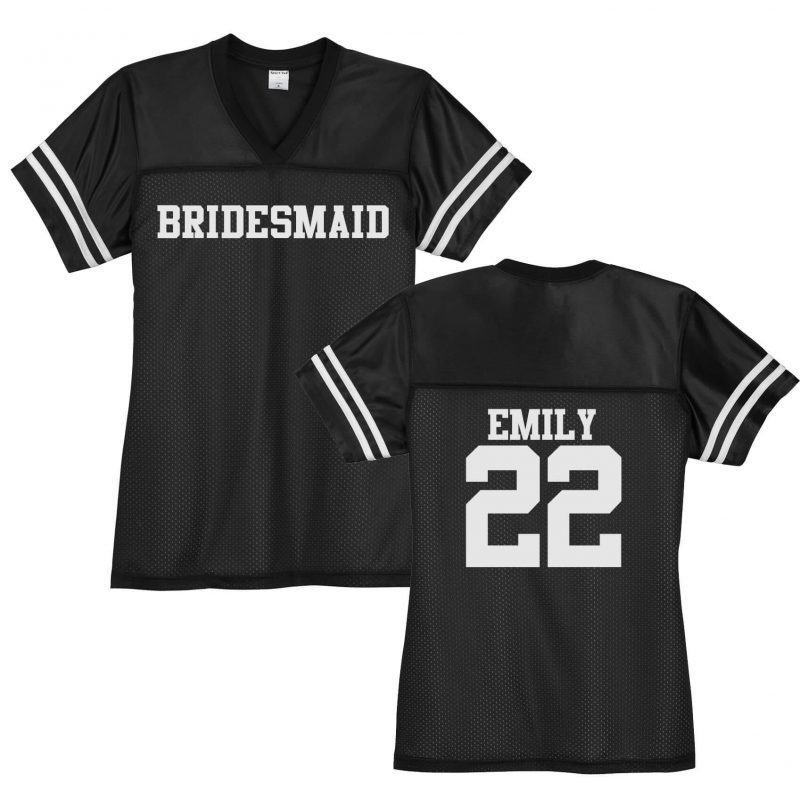 Bridesmaid V-Neck Football Jersey with Name & Number