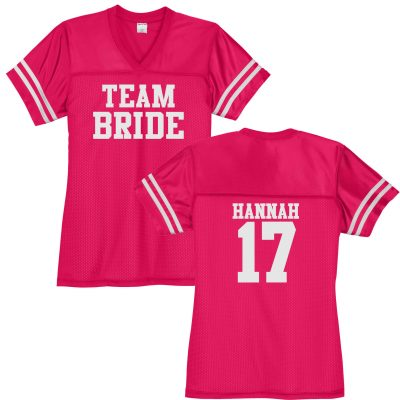 """Team Bride"" V-Neck Football Jersey with Name & Number"
