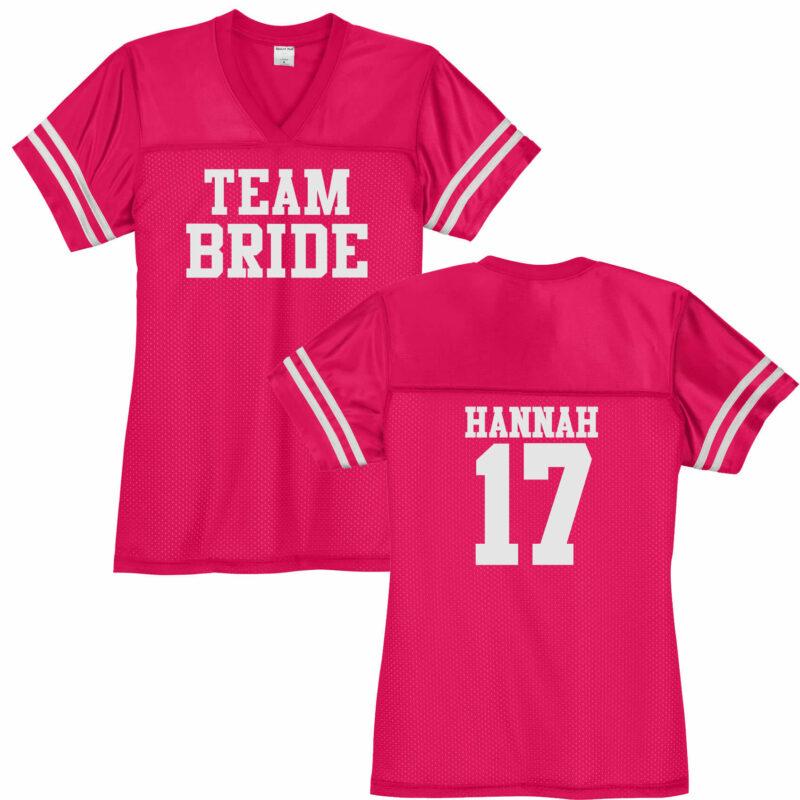 """Team Bride"" V-Neck Football Jersey with Name & Number"