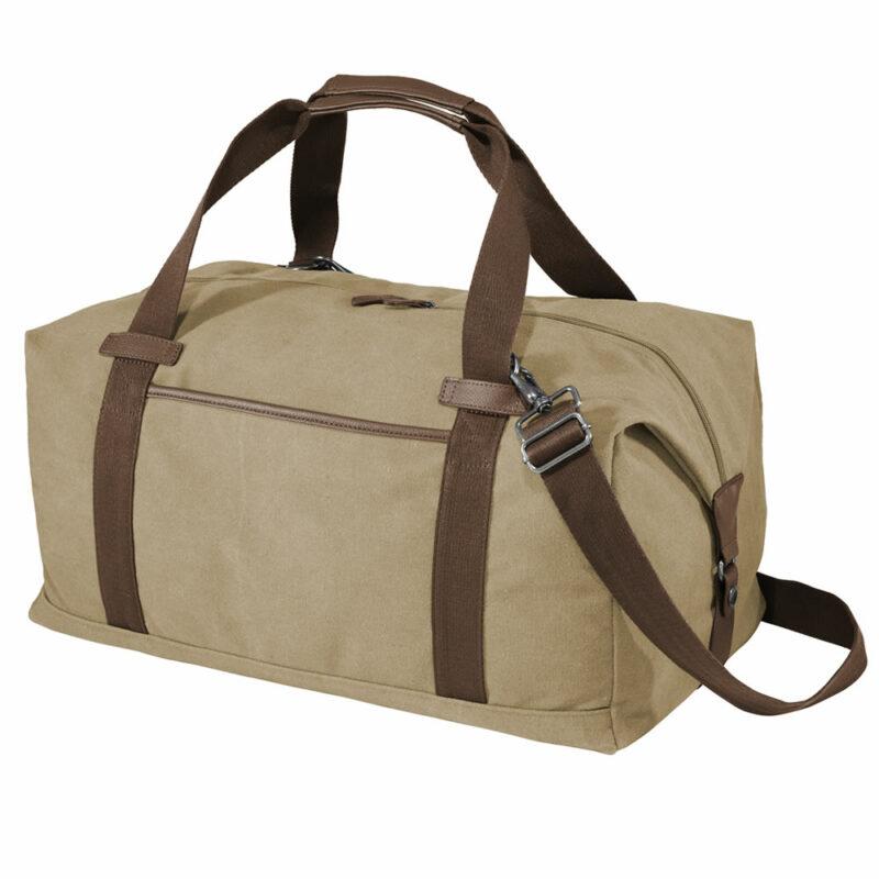 Khaki Canvas Duffle Bag - Side