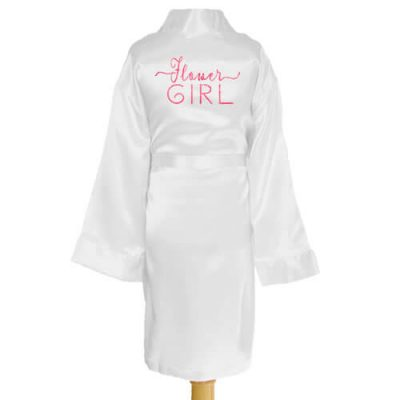 Kid's Satin Flower Girl Robe with Swashes