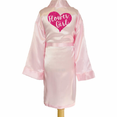 Satin Flower Girl Robe with Heart