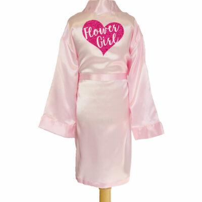Satin Flower Girl Robe with Heart