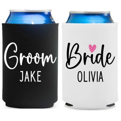 Personalized Bride & Groom Koozie Set