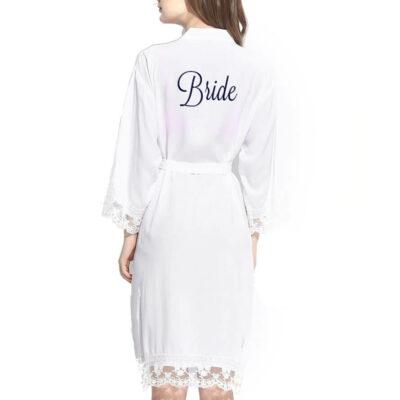 Embroidered Lace Trim Bride Robe