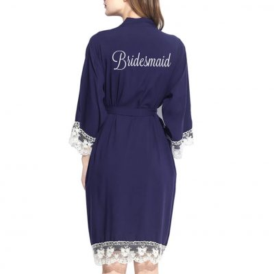 Embroidered Lace Trim Bridesmaid Robe