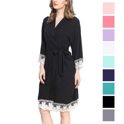 Lace Trim Robe - Blank