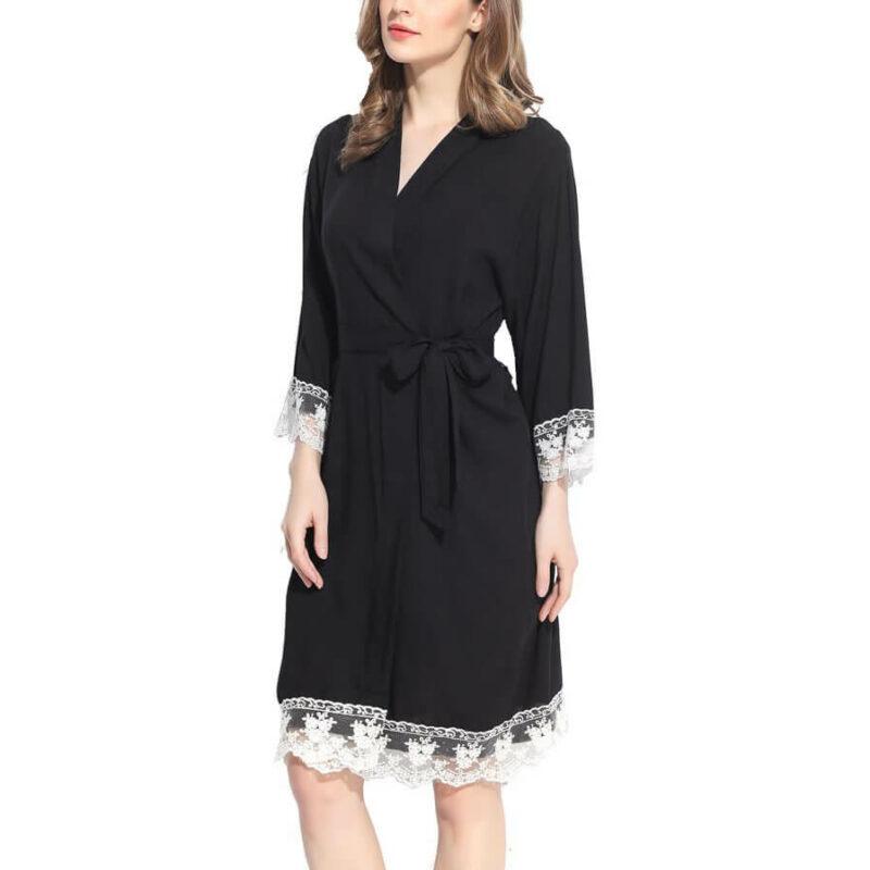 Lace Trim Robe - Blank
