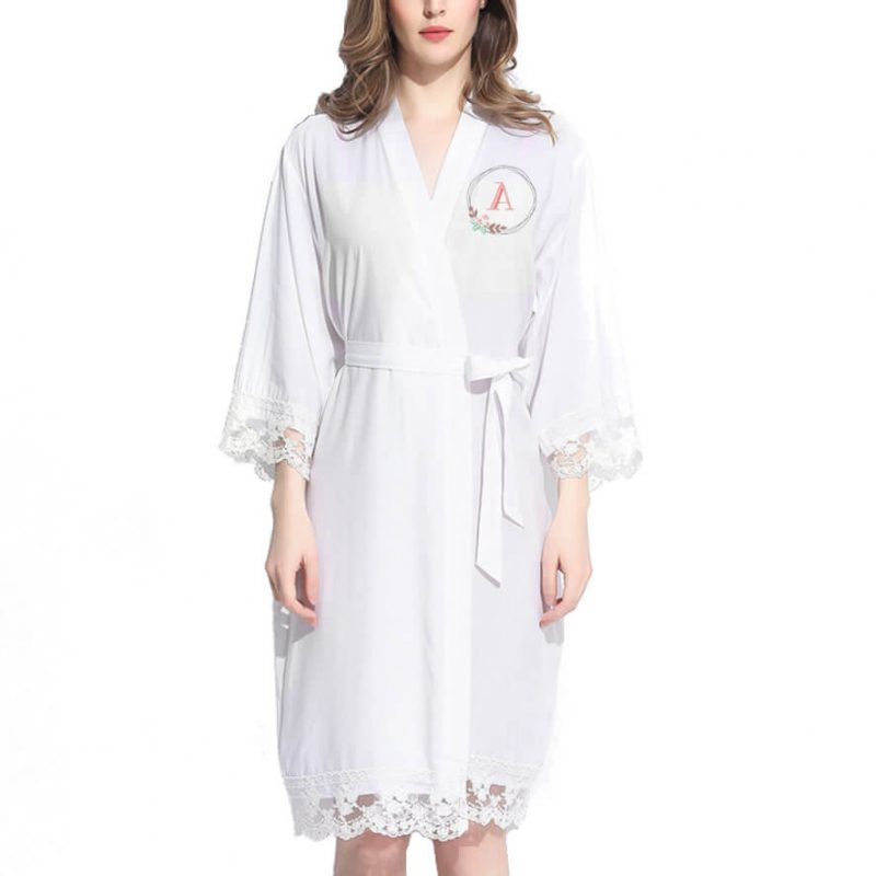 Lace Trim Robe with Embroidered Floral Wreath Monogram