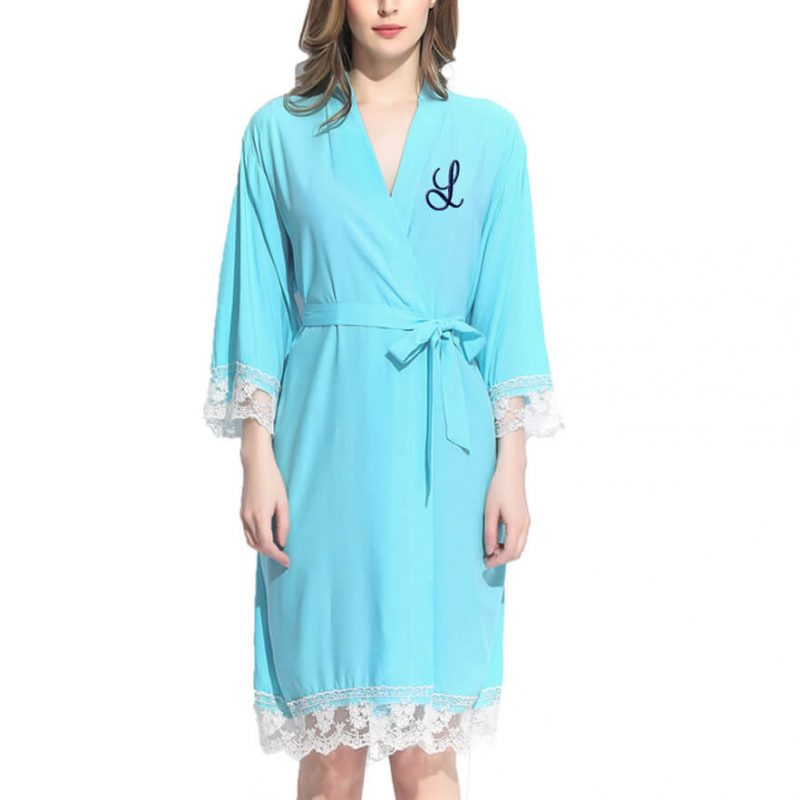 Lace Trim Robe with Embroidered Initial