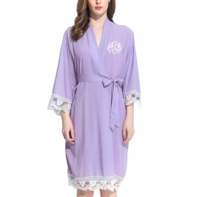 Monogrammed Lace Trim Robe