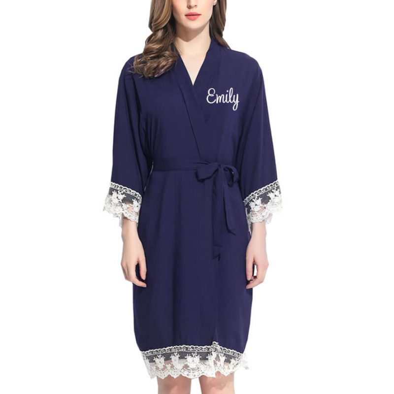Lace Trim Robe with Embroidered Name
