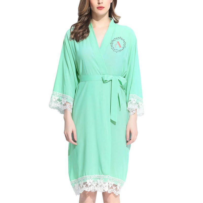 Lace Trim Robe with Embroidered Wreath Monogram