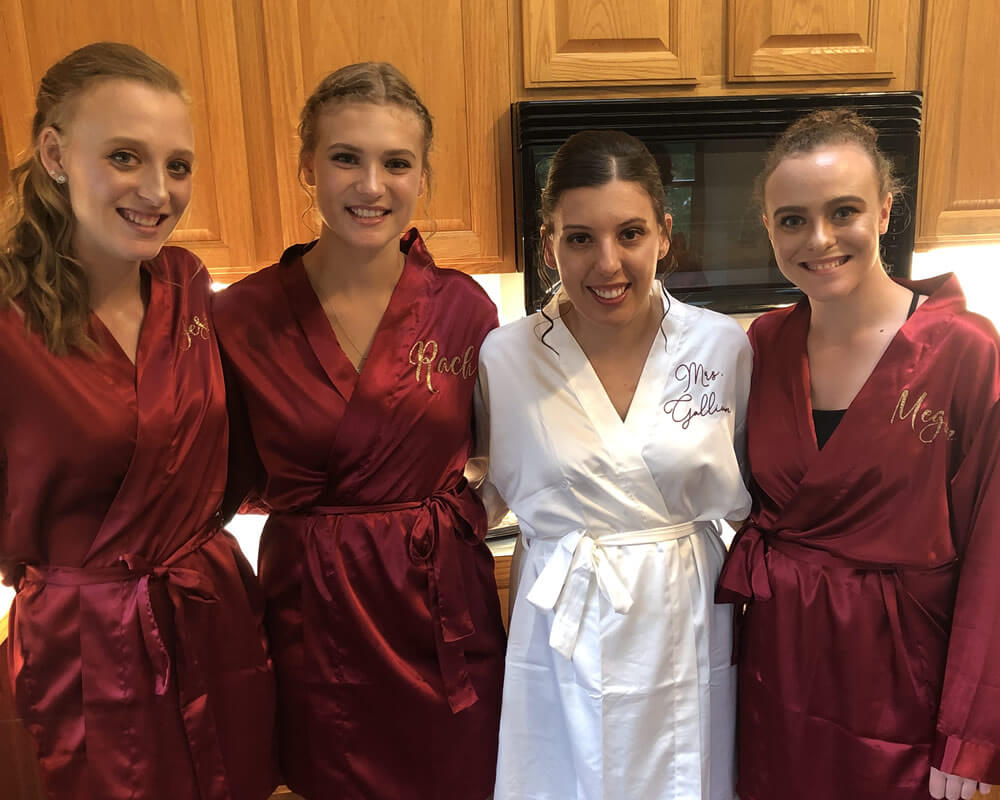 Burgundy Satin Bridal Party Robes