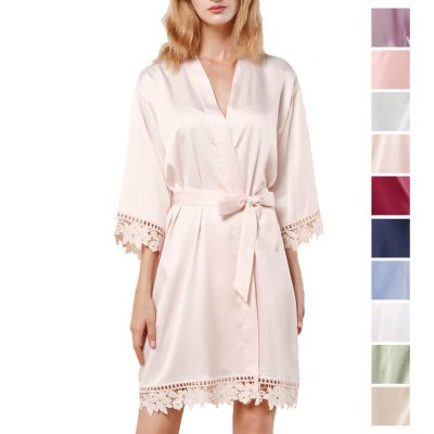 Lace Satin Robe - Blank