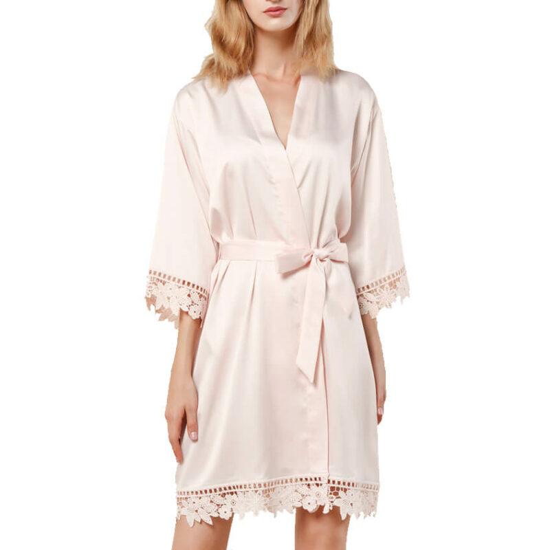 Lace Satin Robe - Blank