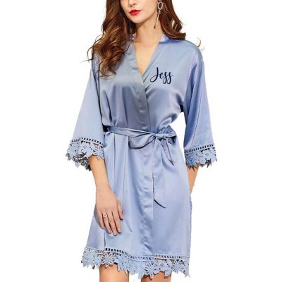 Lace Satin Robe with Name