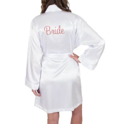 Personalized Satin Bride Robe - Embroidered