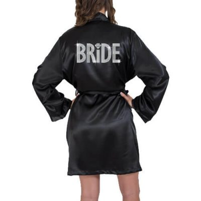 Rhinestone Satin Bride Robe - Block