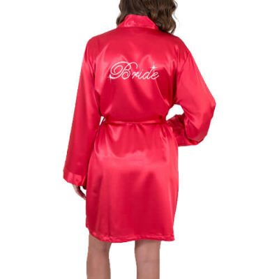 Rhinestone Satin Fancy Bride Robe with Date