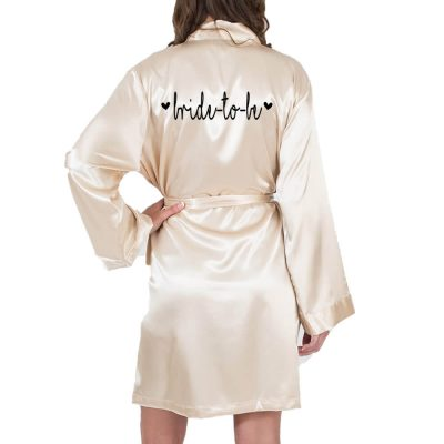"""Bride to be"" Satin Robe with Hearts"