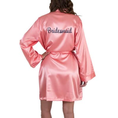Personalized Satin Bridesmaid Robe - Embroidered