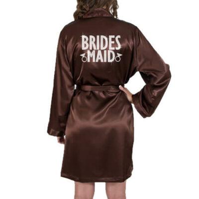 Rhinestone Satin Bridesmaid Robe - Block