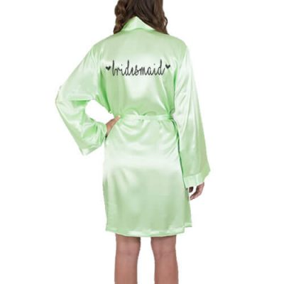 Satin Bridesmaid Robe with Hearts