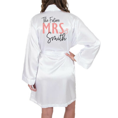 "Rhinestone ""Future Mrs."" Satin Bride Robe with - Block"