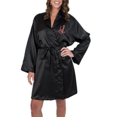 Personalized Satin Bridal Party Robe with Initial - Embroidered