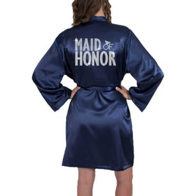 Rhinestone Satin Maid of Honor Robe - Block