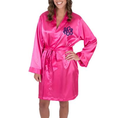 Personalized Satin Bridal Party Robe with Modern Monogram - Embroidered