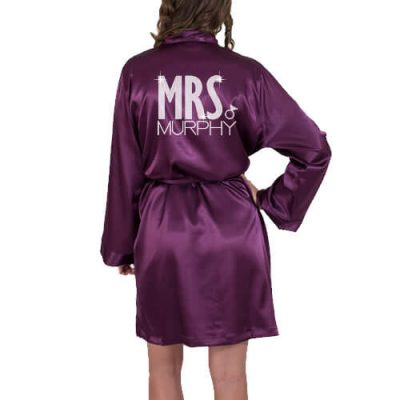 "Rhinestone ""Mrs."" Satin Bride Robe with Ring - Block"