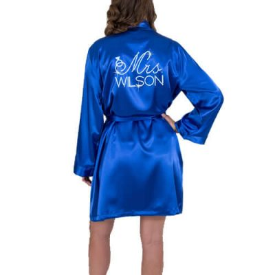 "Rhinestone ""Mrs."" with Date Satin Bride Robe"