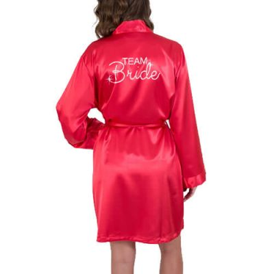 Rhinestone Satin Team Bride Robe