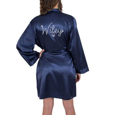 "Rhinestone ""Wifey"" Satin Bride Robe"