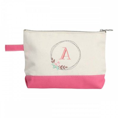 Canvas Makeup Bag with Floral Wreath Monogram