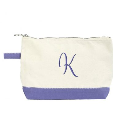 Canvas Makeup Bag with Initial