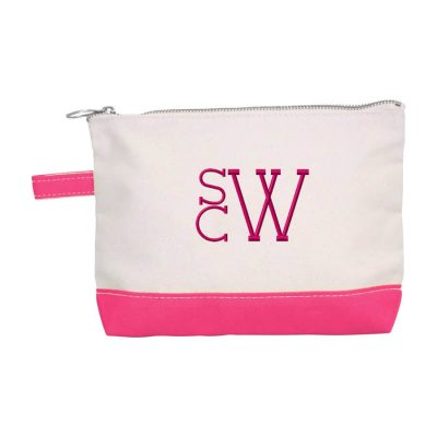 Canvas Makeup Bag with Modern Monogram