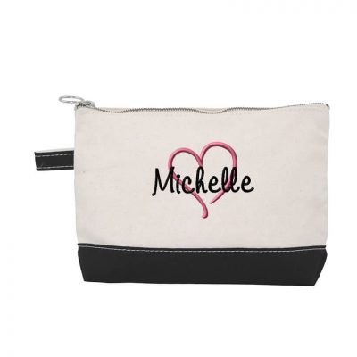 Canvas Makeup Bag with Name & Heart