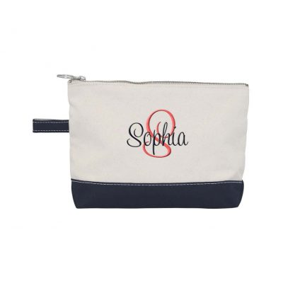 Canvas Makeup Bag with Name & Initial