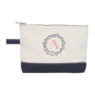 Canvas Makeup Bag with Wreath Monogram