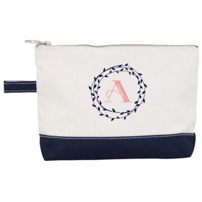 Canvas Makeup Bag with Wreath Monogram