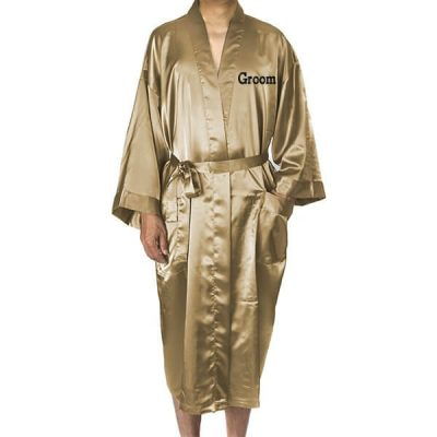 Embroidered Groom Satin Robe